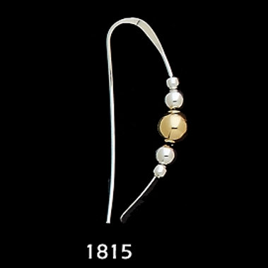 Earrings: Sterling Silver Hook with Silver/Gold Beads  2JA-24