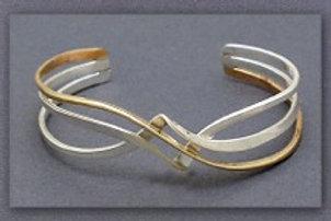 Bracelet - Gold Filled/Sterling Silver Mix, Cuff          JR490