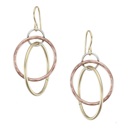 Earring: Copper, Brass & Silver Rings, Dangle       1JE289