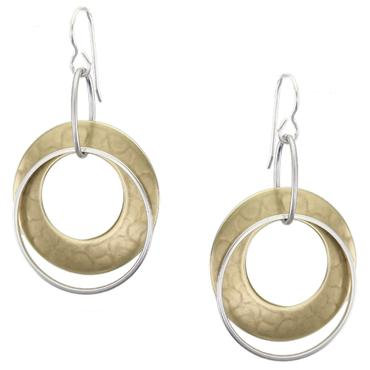 Earring: Large Hammered Brass Disc, Silver, Dangle     1JE333
