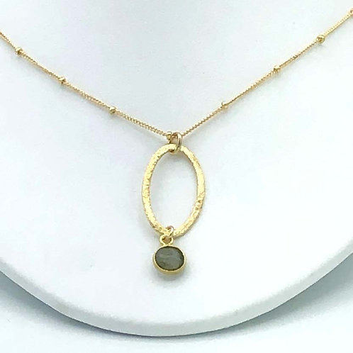 Necklace: Vermeil w Laboradite Drop  JF341