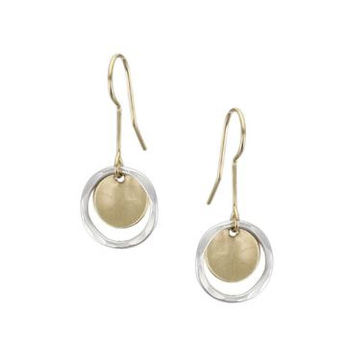 Earrings: Brass Disc, Hammered Silver Ring      1JE297