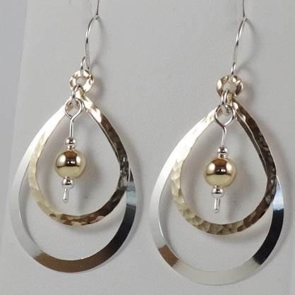 Earrings: Large teardrop, gold-filled/SS w GF bead  2JA61, 62