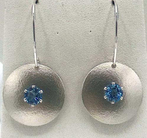 Earring: Sterling Silver Matte Blue Topaz 2JA52