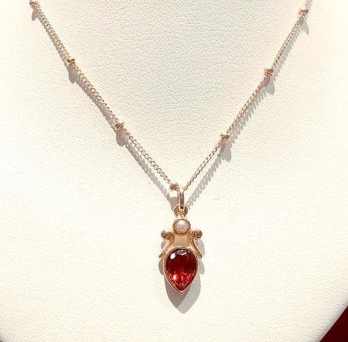 Necklace: Fleur Pear, Garnett, Vermillion  JF345