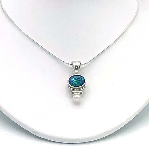 Necklace: Silver, Snake Chain, Black Opal JF328