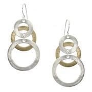Earrings: Brass, silver, Linked rings   1JE403