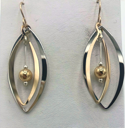 Earrings: Gold Filled and Sterling Silver w Gold Bead 2JA33