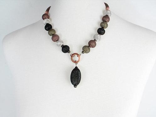 Necklace: Balls, Oval Drop, Copper, Nickel, Silver, Rhodium  JZ568