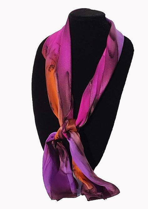 "Hand-Painted Silk Scarf, 11"" x 60""    MV318"