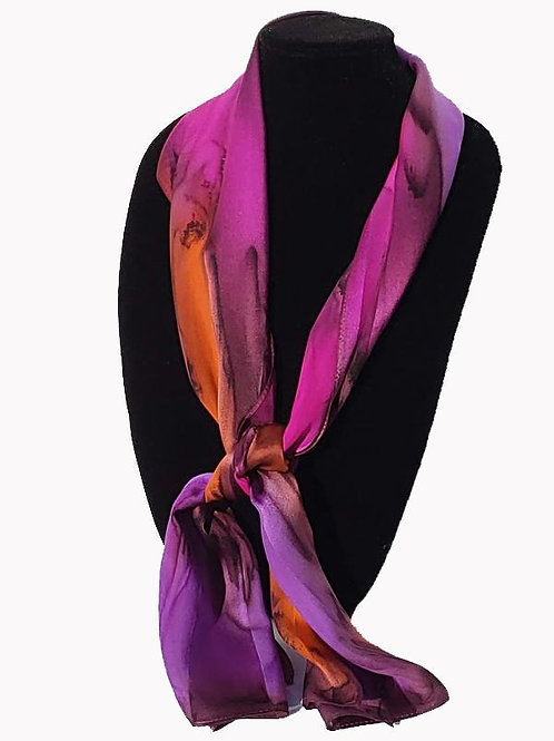 "Hand-Painted Silk Scarf, 11"" x 60""    MV318"