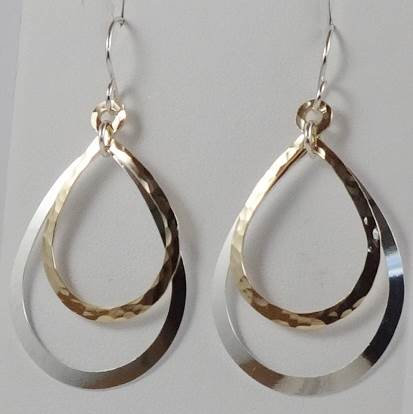 Earrings: Large mixed teardrop, Sterling Silver and Gold Filled  2JA57