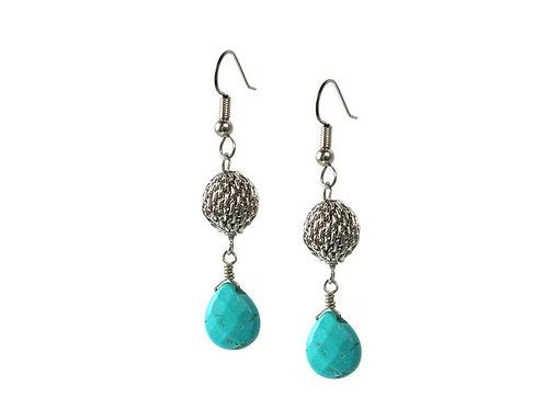Earrings: Rhodium, Turquoise  JZ554
