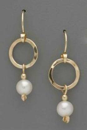 Earring - Sm. Gold Filled Ring w White Pearl, Dangle     JI157