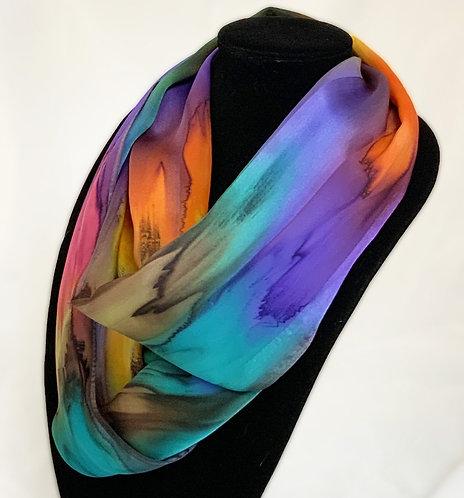 "Hand-painted Silk Scarf 11""x60""  ""Autumn Leaves"" MV325"
