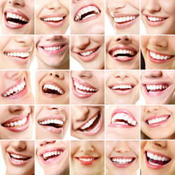 Perfect smiles. Set of 25 beautiful wide human smiles with great healthy white teeth