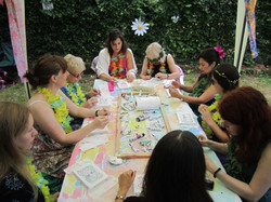 Hen Party - silk painting