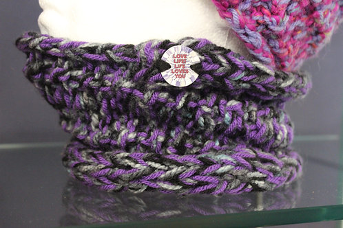 Neck Warmer purple, black, grey marble