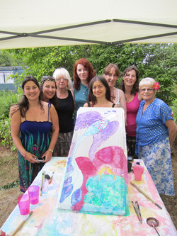 Hen Party silk painting