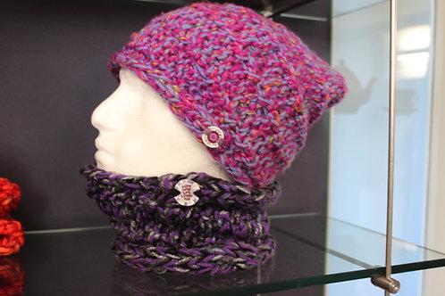 Lilac & deep pink marbled beanie