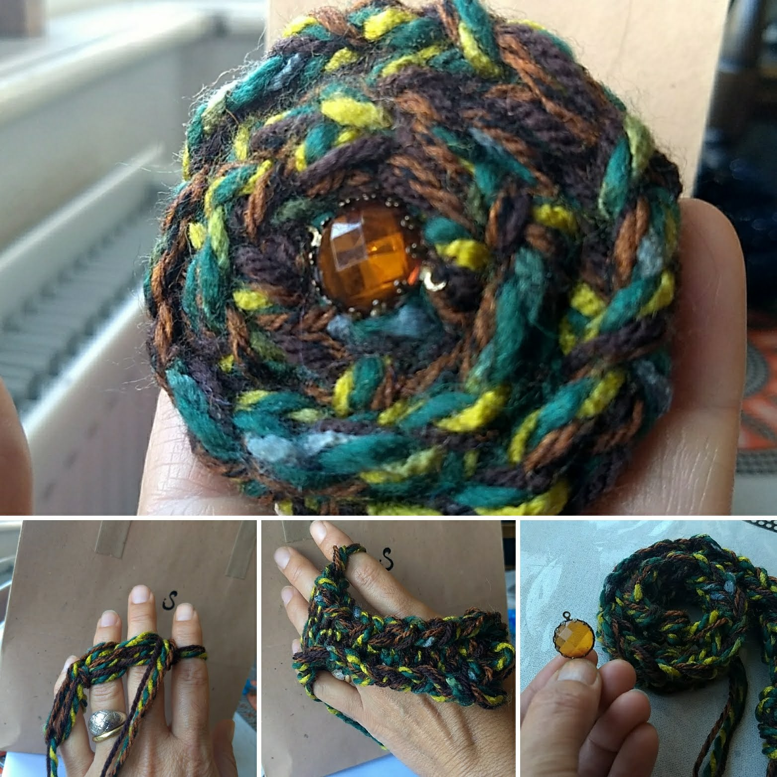 finger knitted hair tie