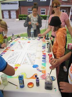 Community silk painting
