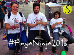 #FingaNinja2016 what a bench of knitters