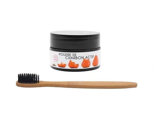Poudre blanchissante l'atelier du sourire + brosse à dents en bambou naturel