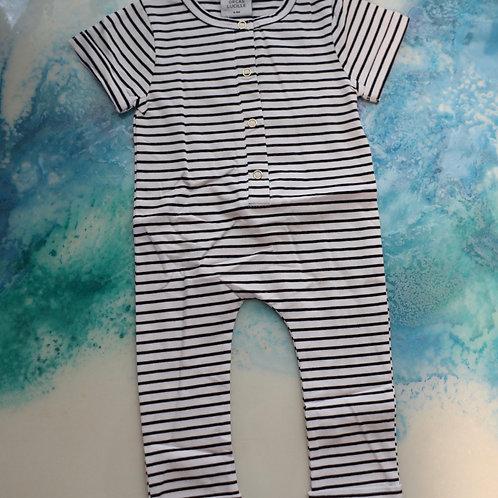 Short Sleeve Henley Romper - B&W Stripe