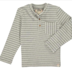 Gray/White Stripe Henley Tee