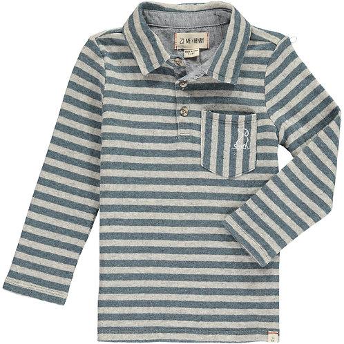 Blue/Grey Stripe Polo