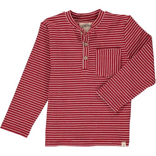 Red/White Stripe Henley Tee