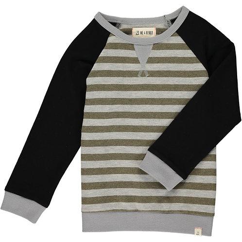 Green/Gray Stripe Raglan Sweater