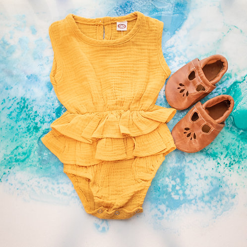 Sleevless Ruffle Romper - Sunshine