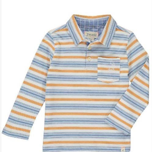 Blue/Orange Multi Stripe Polo