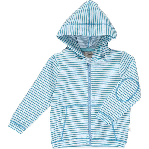 Padstow Terry Cloth Jacket - aqua/white stripe
