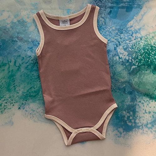 Ribbed Bodysuit - Pale Mauve
