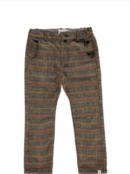 Brown Plaid Woven Pants