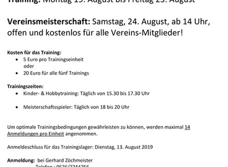 Sommer-Training und Vereinsmeisterschaft