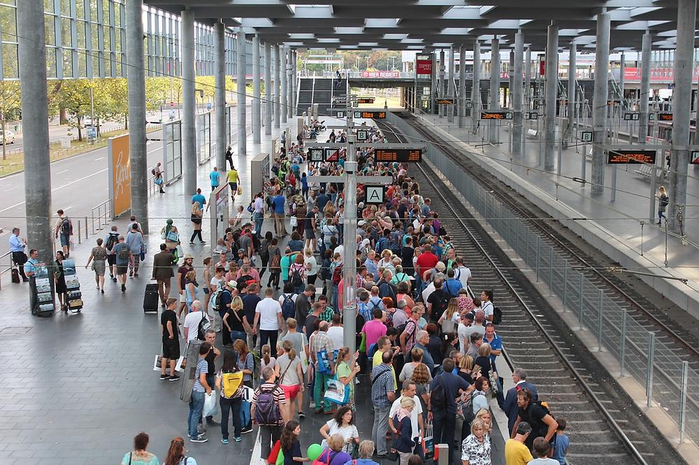 Busy station platform