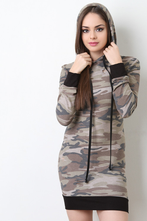 20be0647c3693 Camoflagued fitted dress with distress.