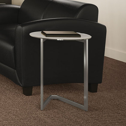 side table with glass top and brushed aluminum finish base