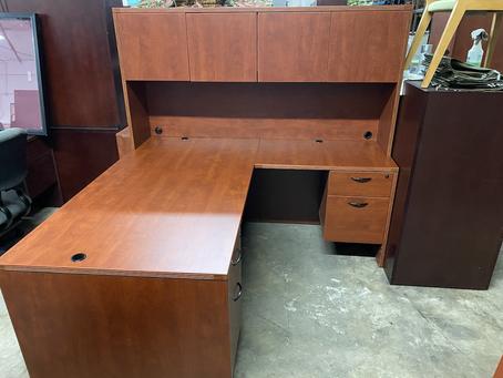 Cherryman L shaped desks with hutch.