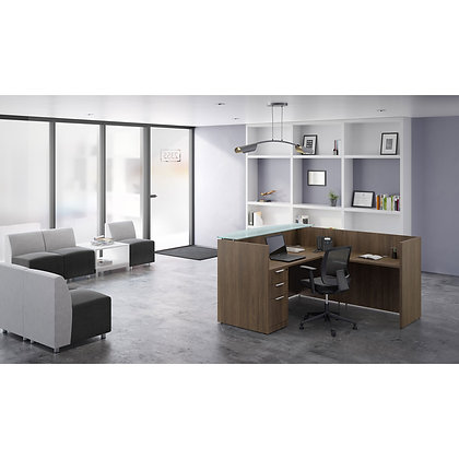new single pedestal reception l shaped desk with glass transaction top in walnut finish typical os30