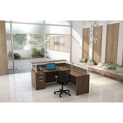 borders collection single pedestal reception L shaped desk right side in walnut finish