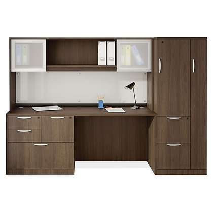 executive work desk with hutch and wardrobe unit in walnut finish