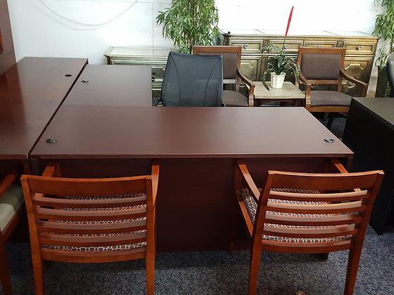 5.5' x 6.5' cherryman amber series laminate double full pedestal L shaped desk in mahogany finish