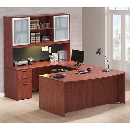 os laminate collection executive u shaped desk with hutch left side in cherry finish typical os20