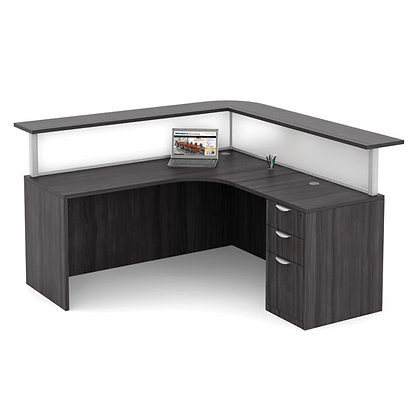 os laminate collection single pedestal reception L shaped desk typical os36