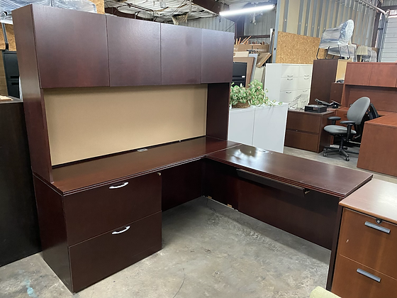 OFS corner L shaped desk with hutch